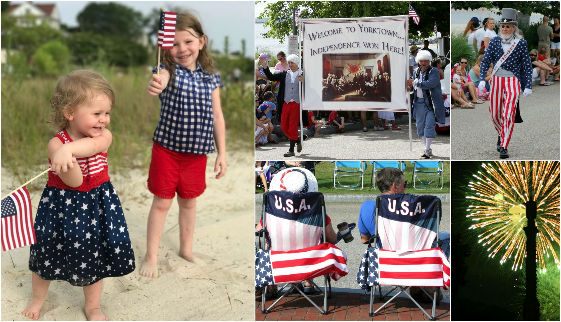 Parade, Fireworks, and Patriotic Collage of Images
