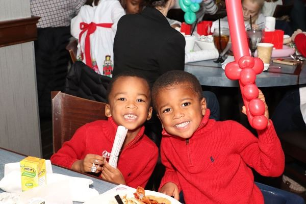 Brothers with Balloons Breakfast with Santa 2017