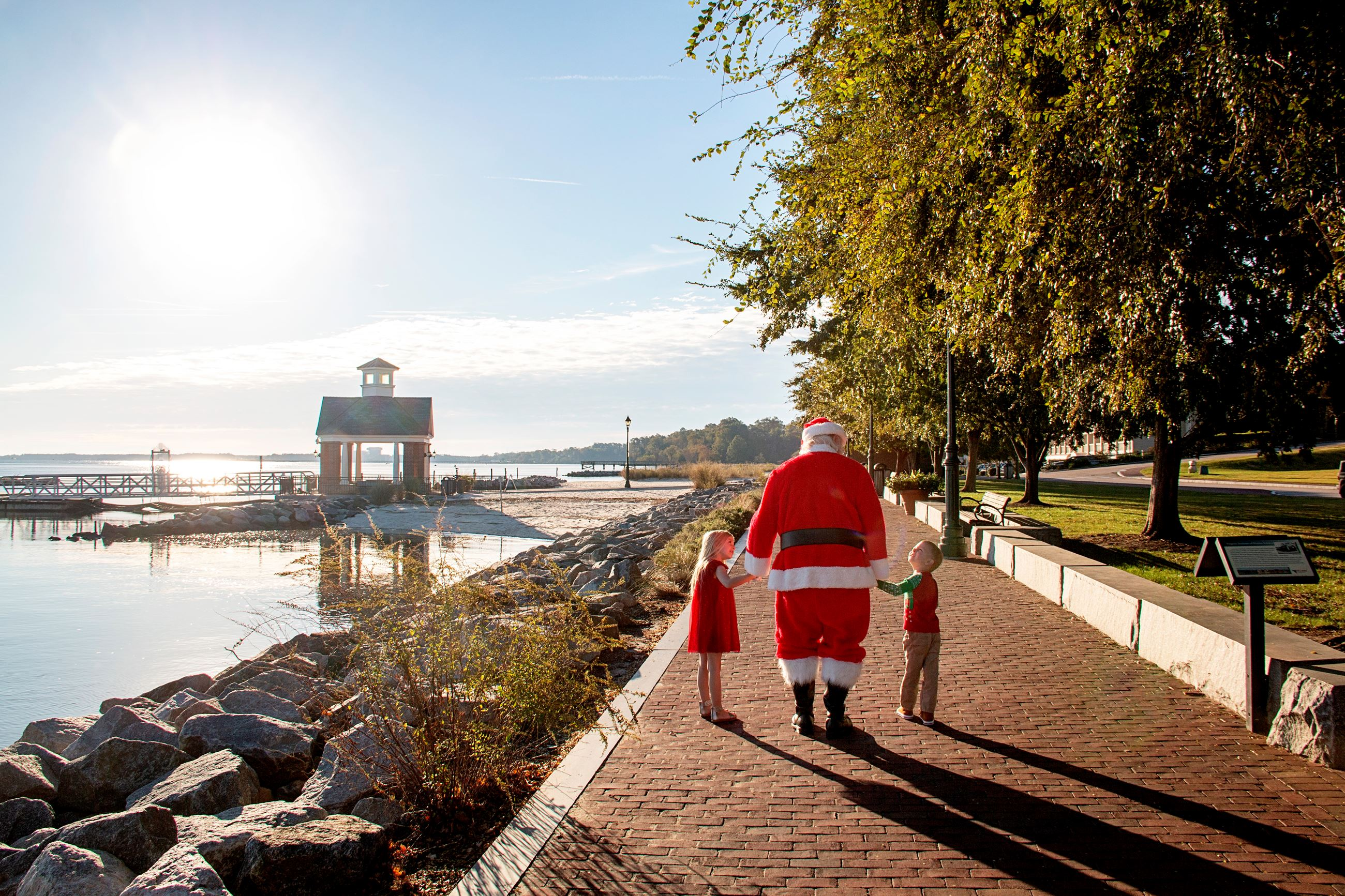 Santa with kids at Riverwalk Landing