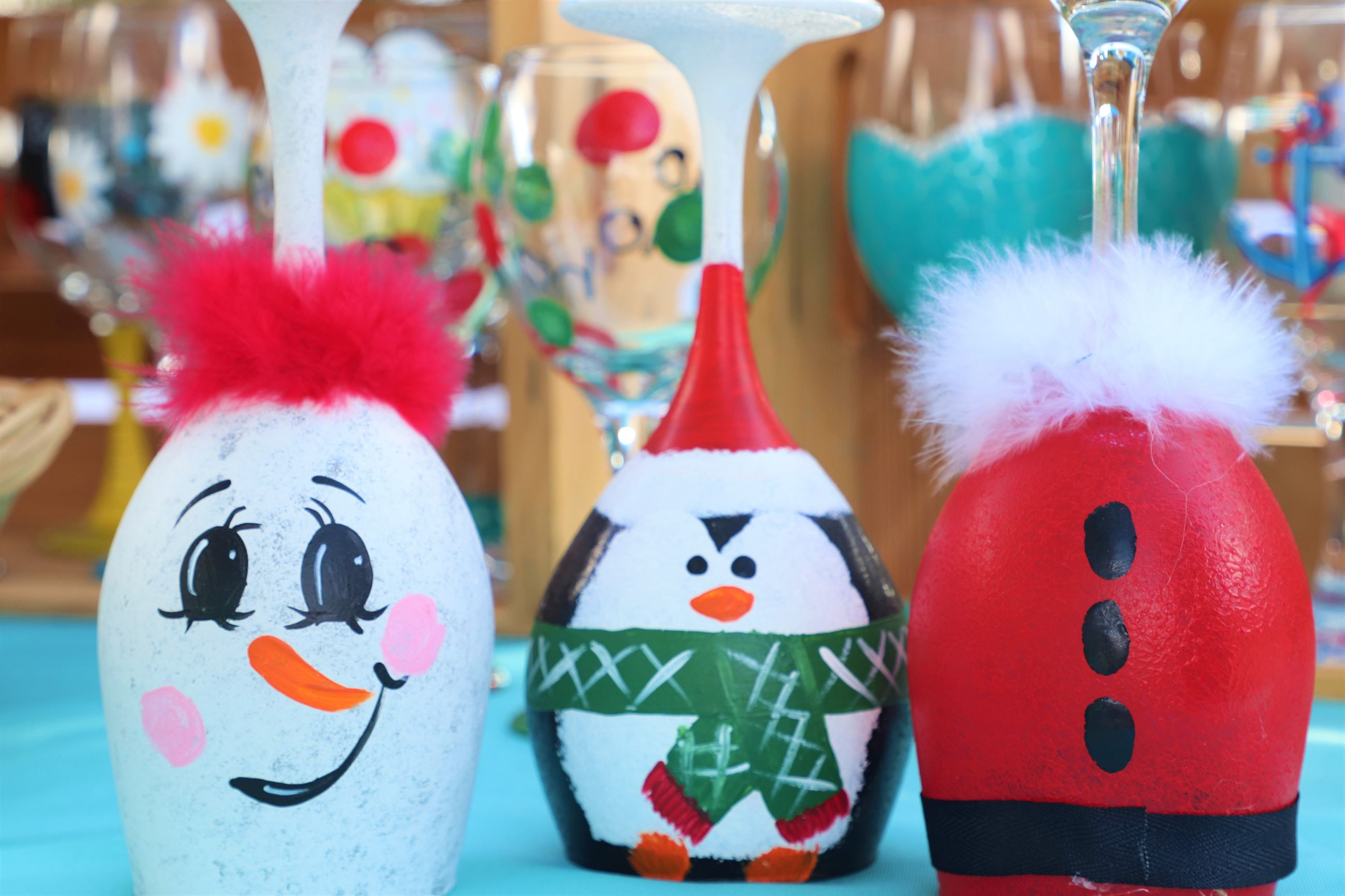 Painted Holiday Wine Glasses