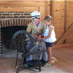 Spinning Wool at the American Revolution Museum at Yorktown