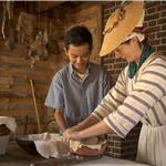 Making pie crust at the American Revolution Museum at Yorktown