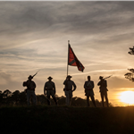 Civil War Weekend Troops on hill at sunset