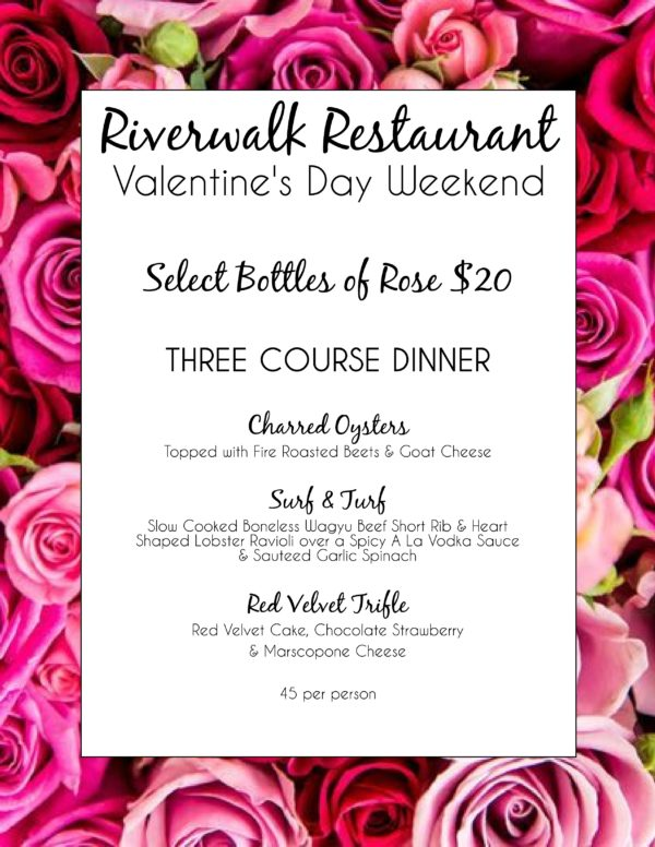 Riverwalk Restaurant Valentine's Day Dinner