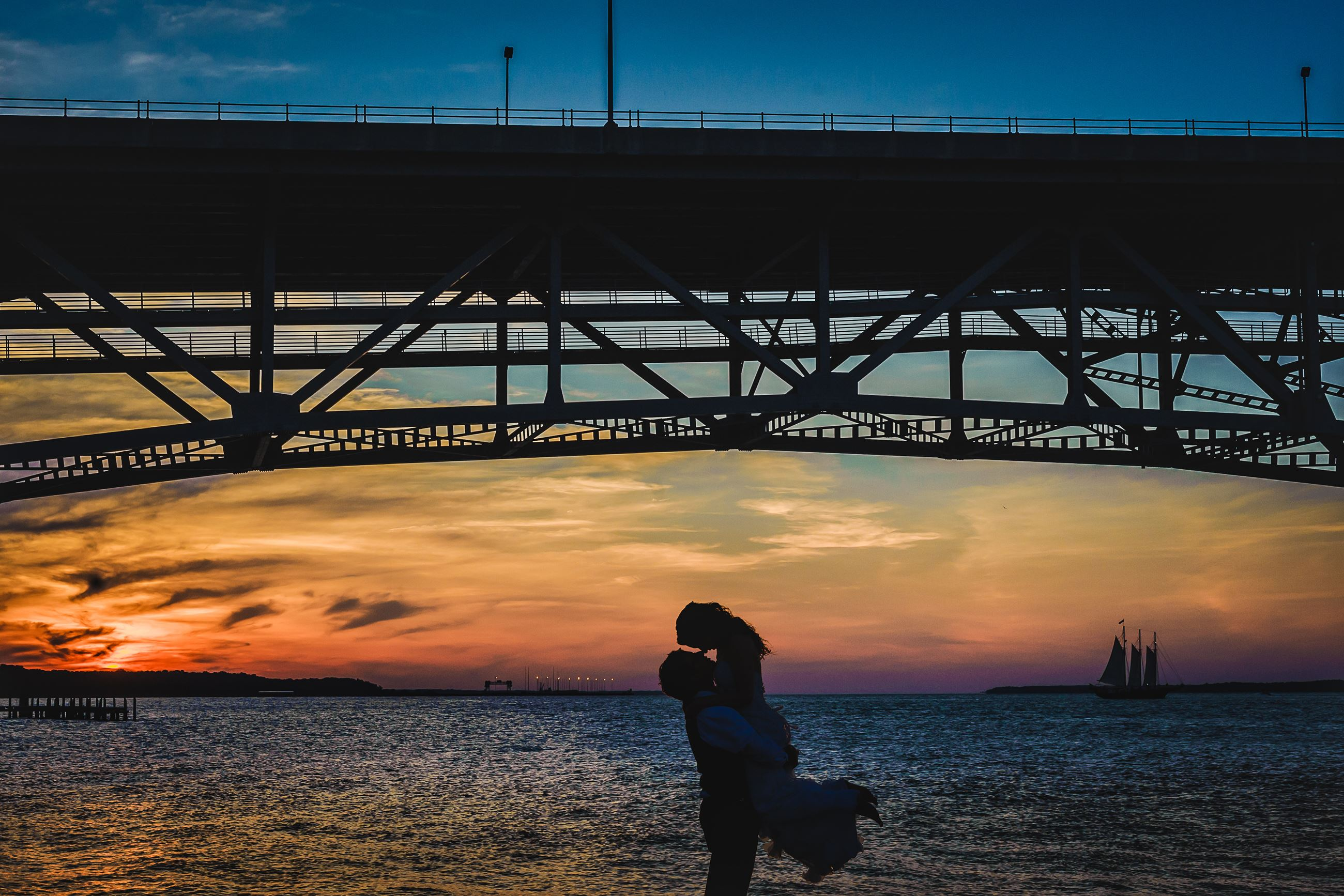 Steven and Lily Photography Bridge Sunset