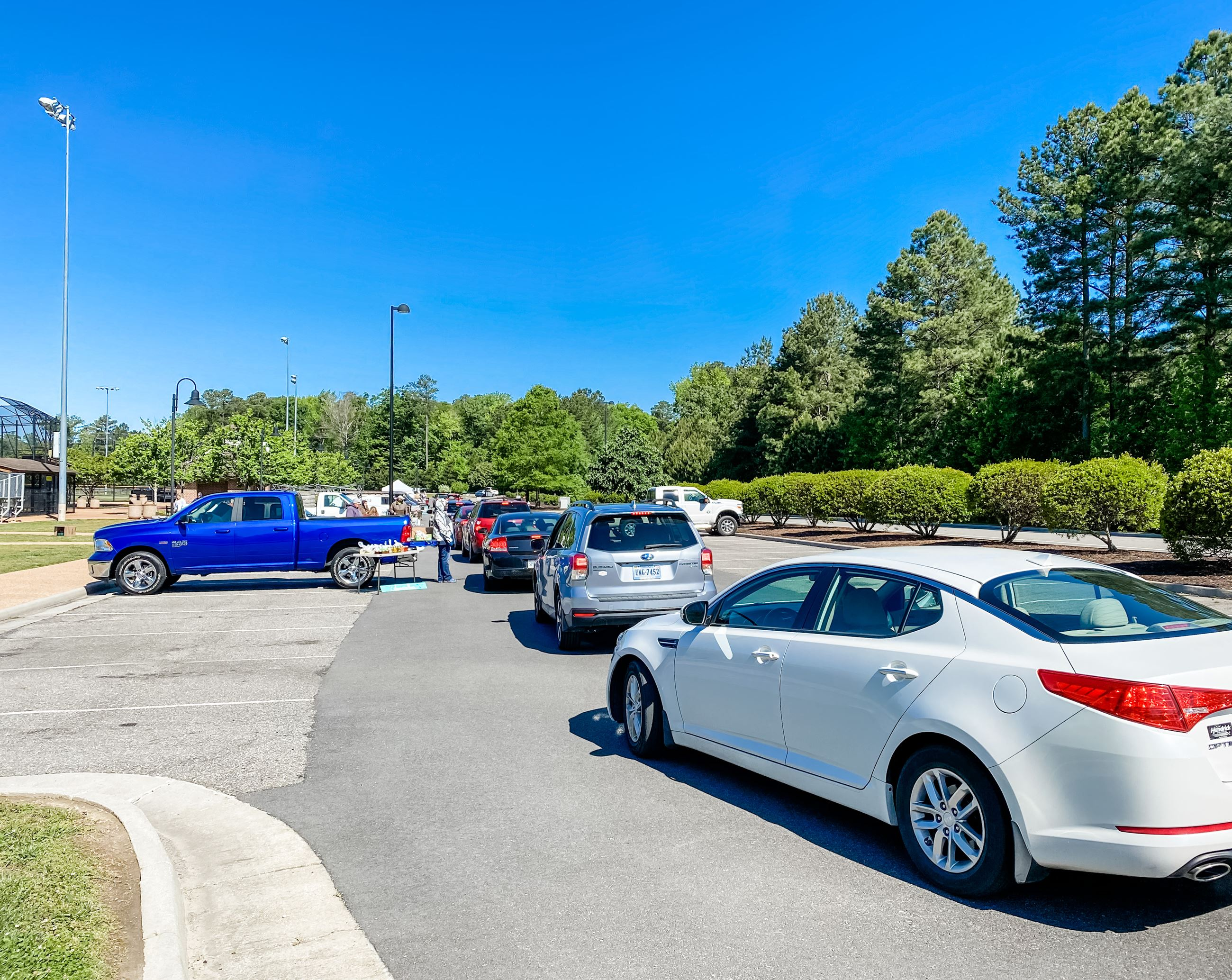 Drivethru Market line of cars at the McReynolds Athletic Complex