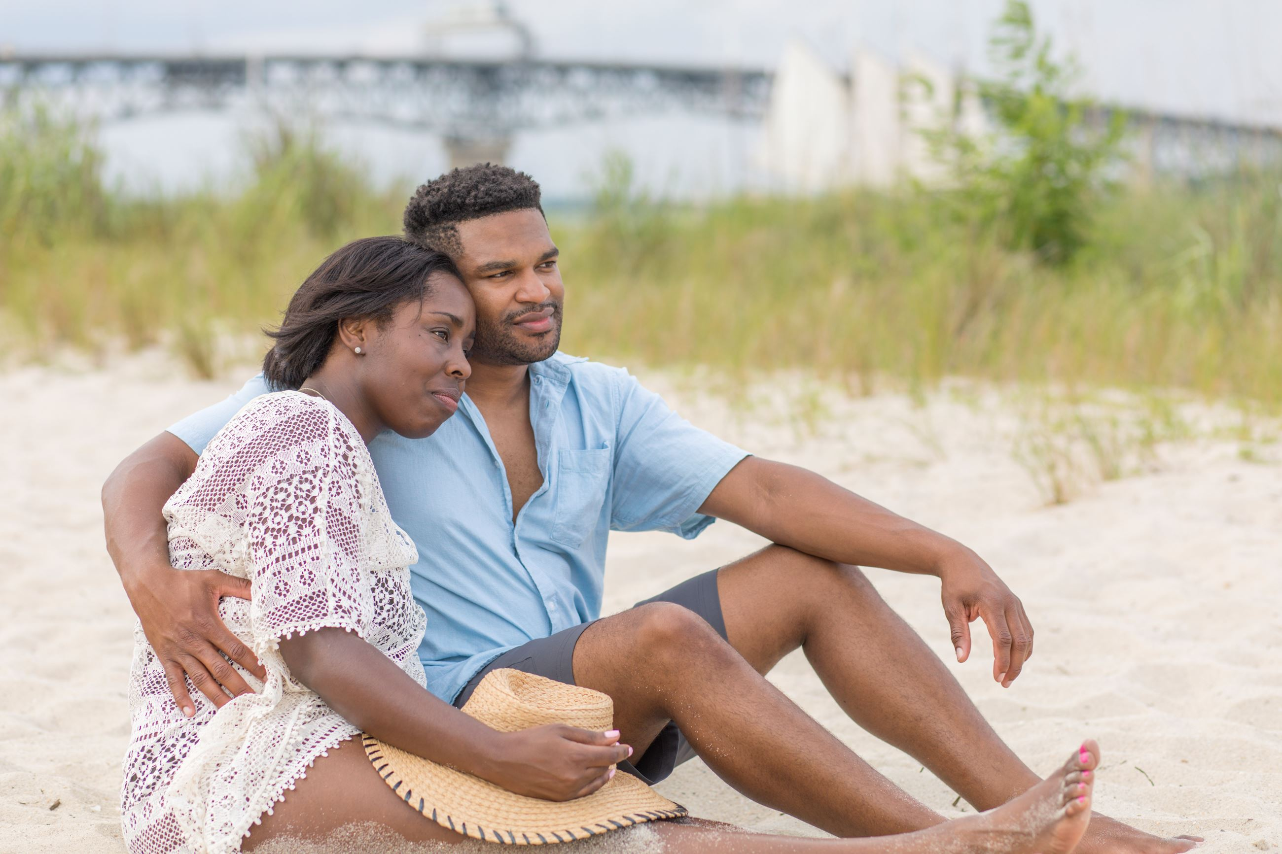Couple relaxing at Yorktown Beach