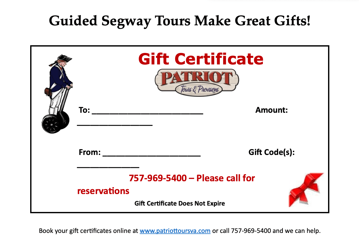 Patriot Tours and Provisions Gift Certificate