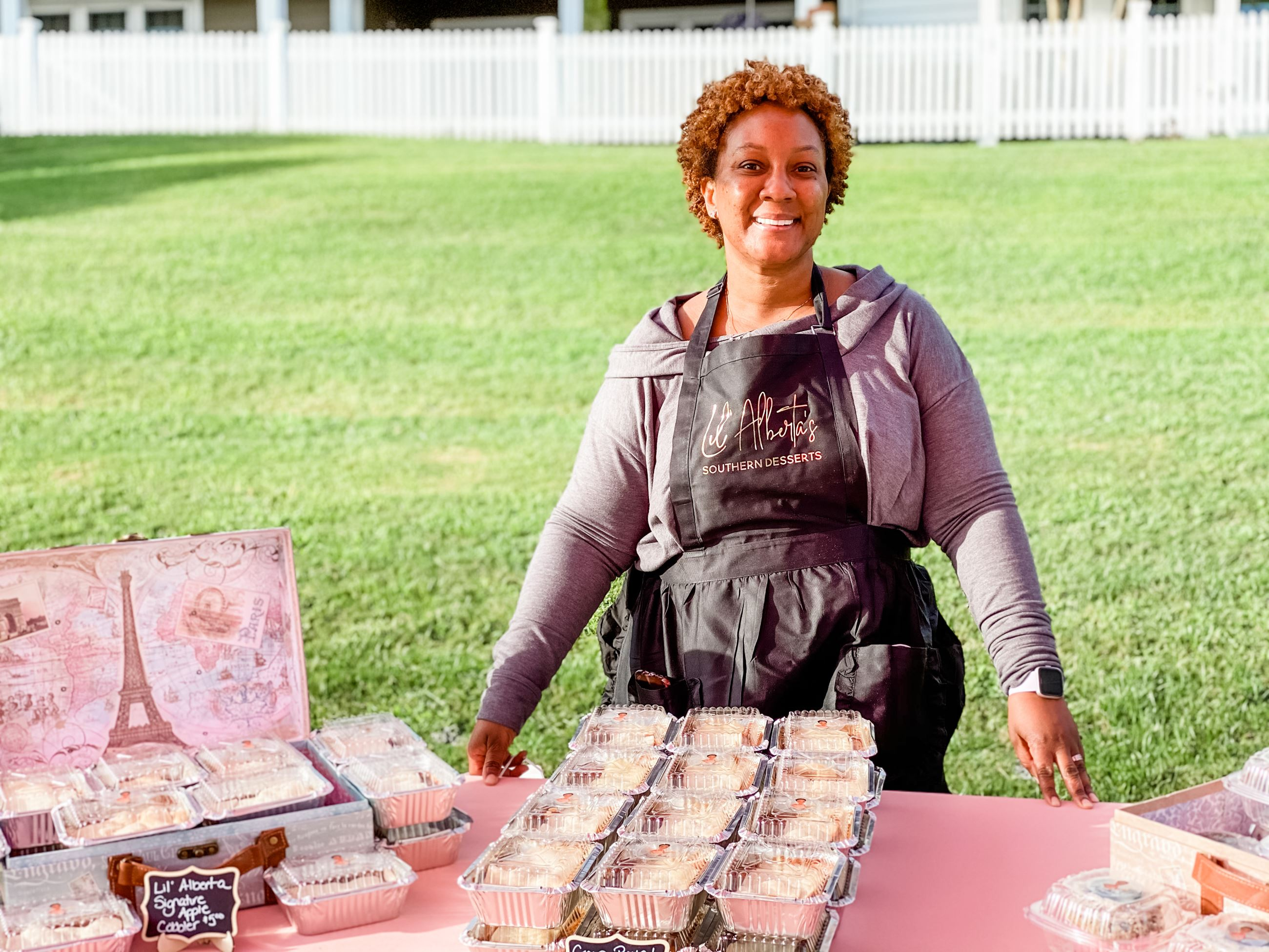 Lil Aberta's desserts selling baked goods during 2020 French Market